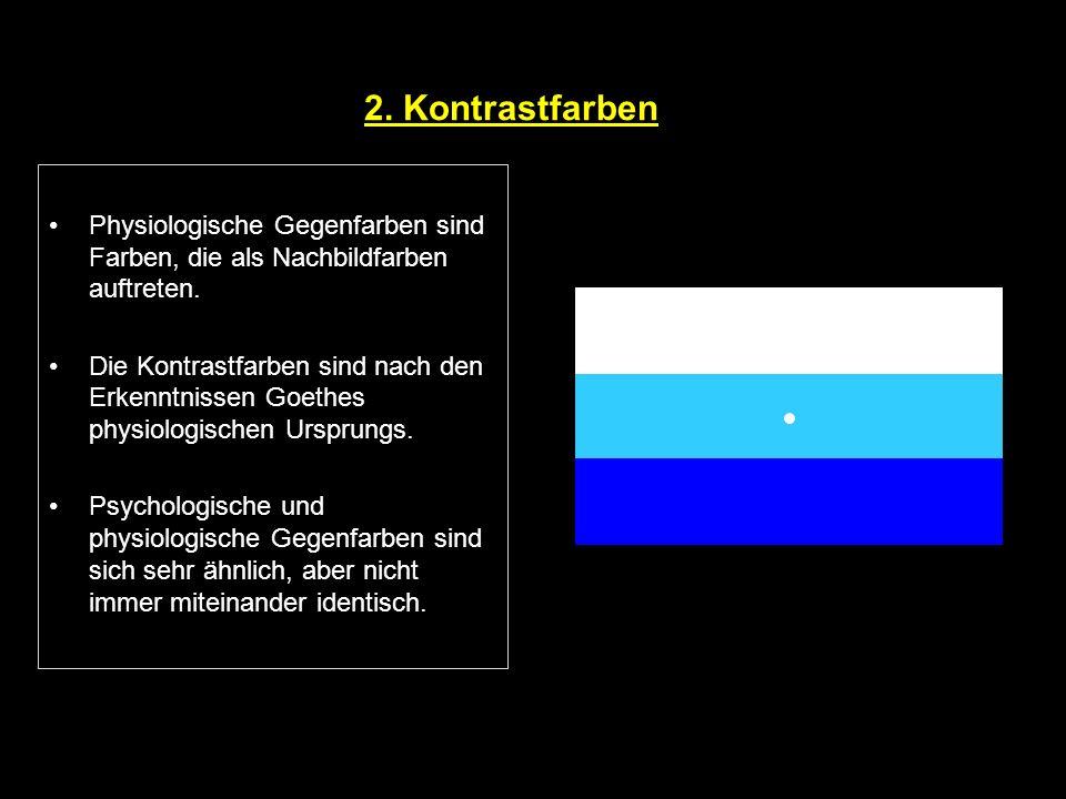 2. Kontrastfarben Physiologische Gegenfarben sind Farben, die als Nachbildfarben auftreten.