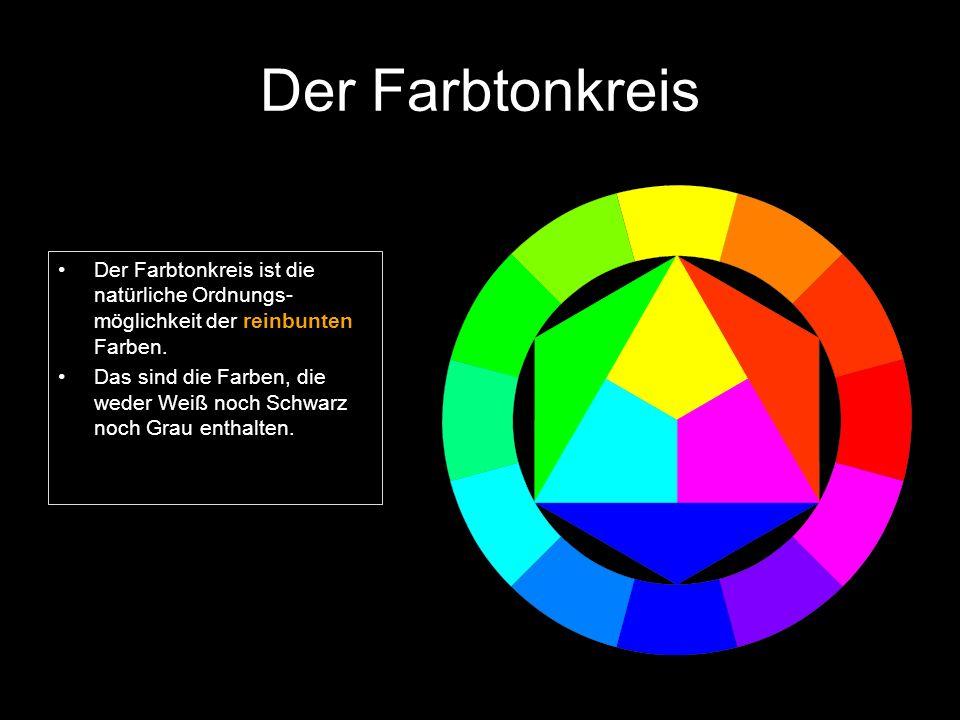 Der Farbtonkreis Der Farbtonkreis ist die natürliche Ordnungs- möglichkeit der reinbunten Farben.