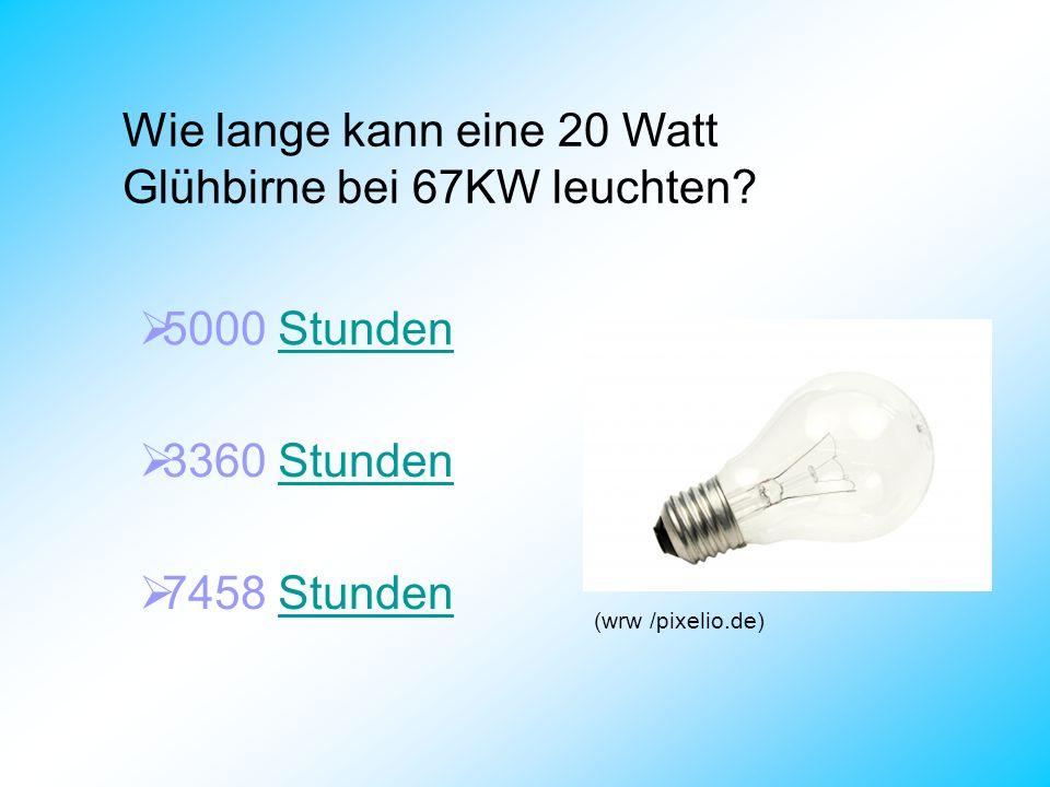 Wie lange kann eine 20 Watt Glühbirne bei 67KW leuchten