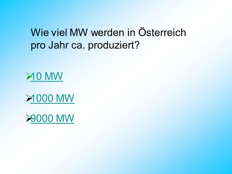 Wie viel MW werden in Österreich pro Jahr ca. produziert