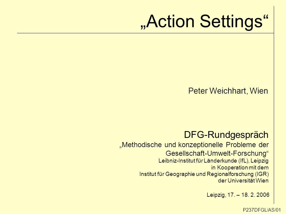 """""""Action Settings DFG-Rundgespräch Peter Weichhart, Wien"""