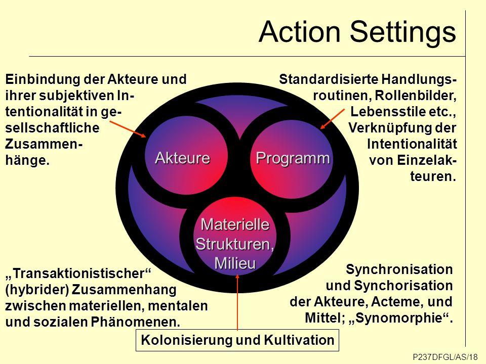 Action Settings Akteure Programm Materielle Strukturen, Milieu