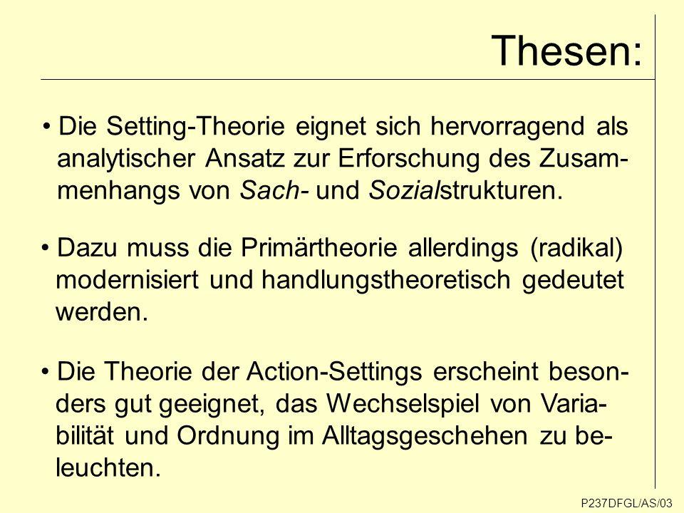 Thesen: Die Setting-Theorie eignet sich hervorragend als