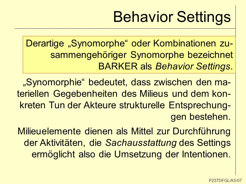 "Behavior Settings Derartige ""Synomorphe oder Kombinationen zu-"