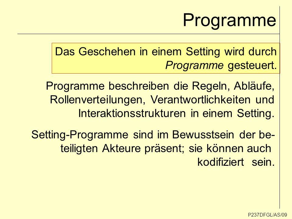 Programme Das Geschehen in einem Setting wird durch