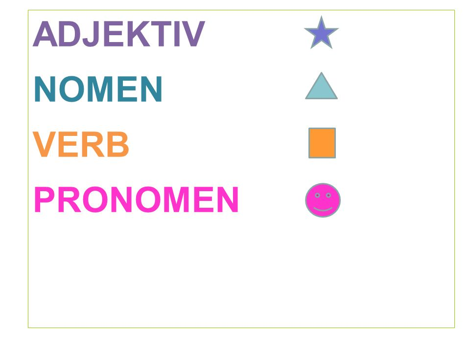 ADJEKTIV NOMEN VERB PRONOMEN