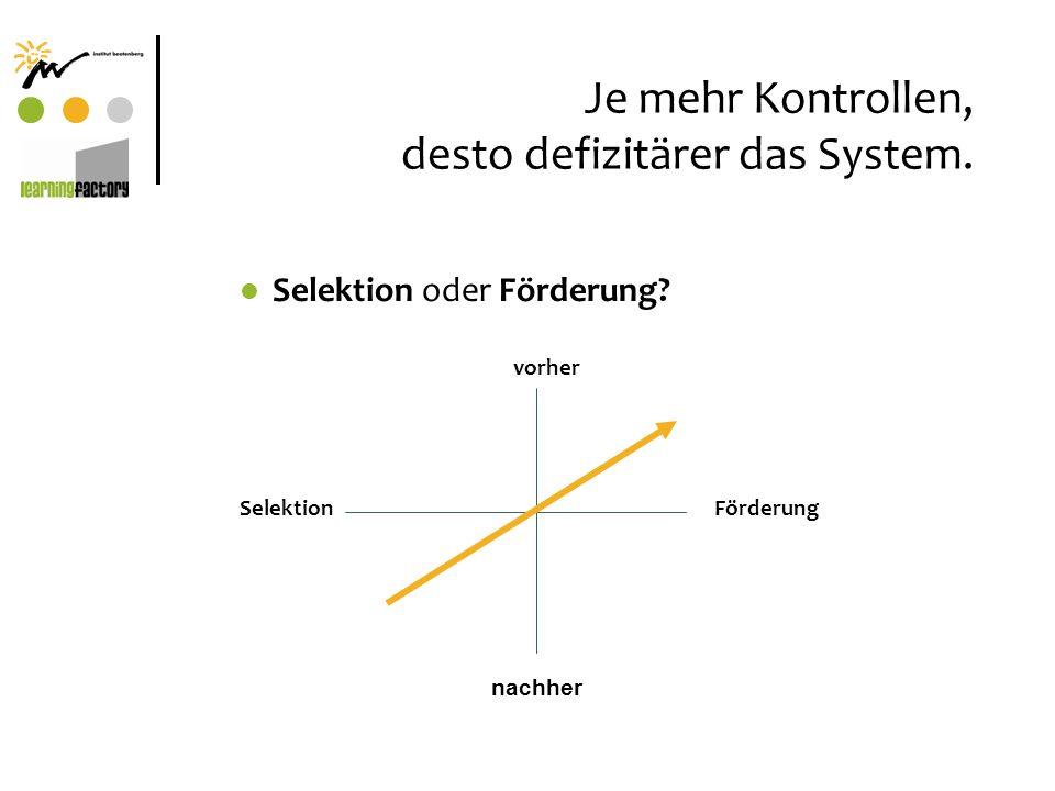 Je mehr Kontrollen, desto defizitärer das System.