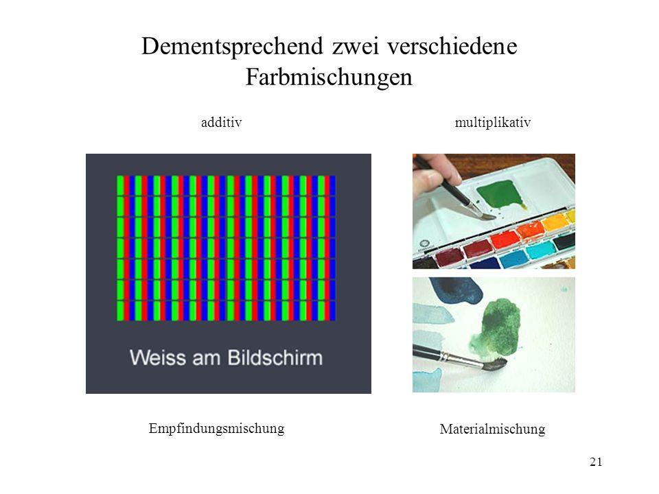 Dementsprechend zwei verschiedene Farbmischungen