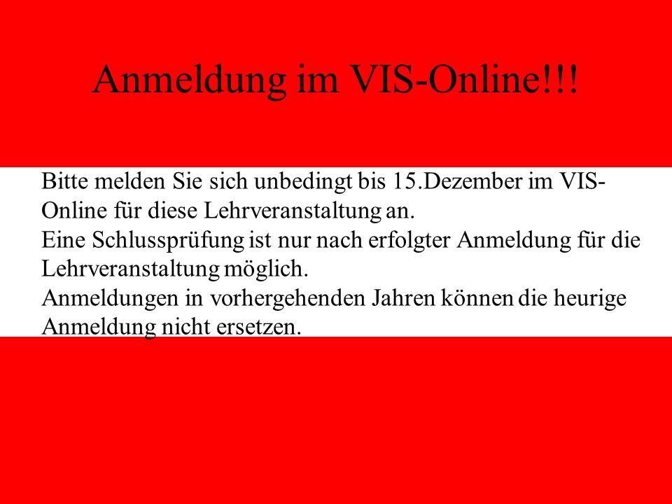 Anmeldung im VIS-Online!!!