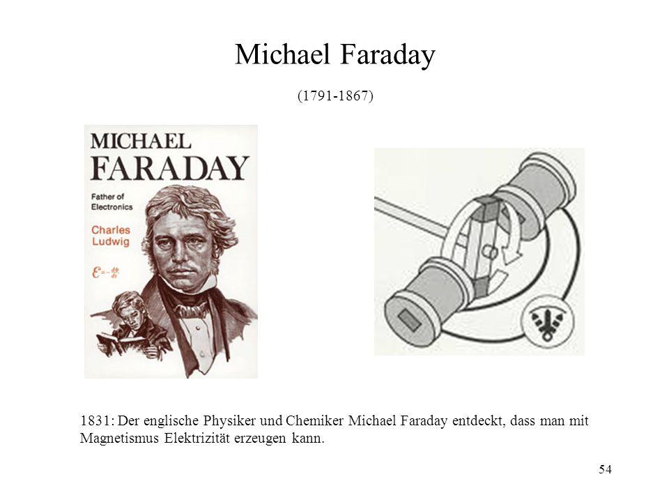 Michael Faraday (1791-1867) 1831: Der englische Physiker und Chemiker Michael Faraday entdeckt, dass man mit.