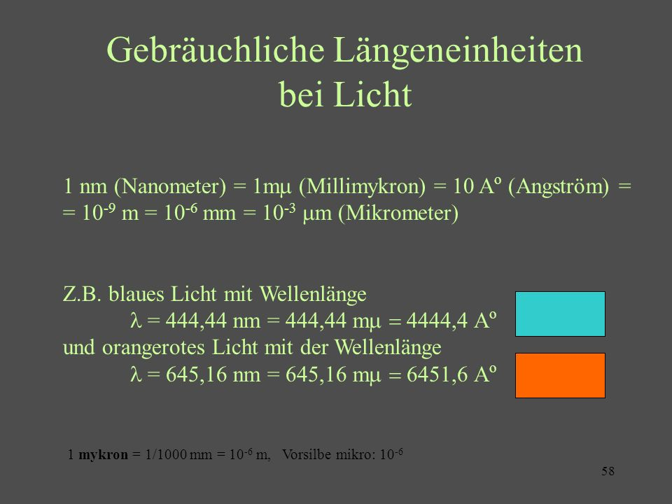 Gebräuchliche Längeneinheiten bei Licht