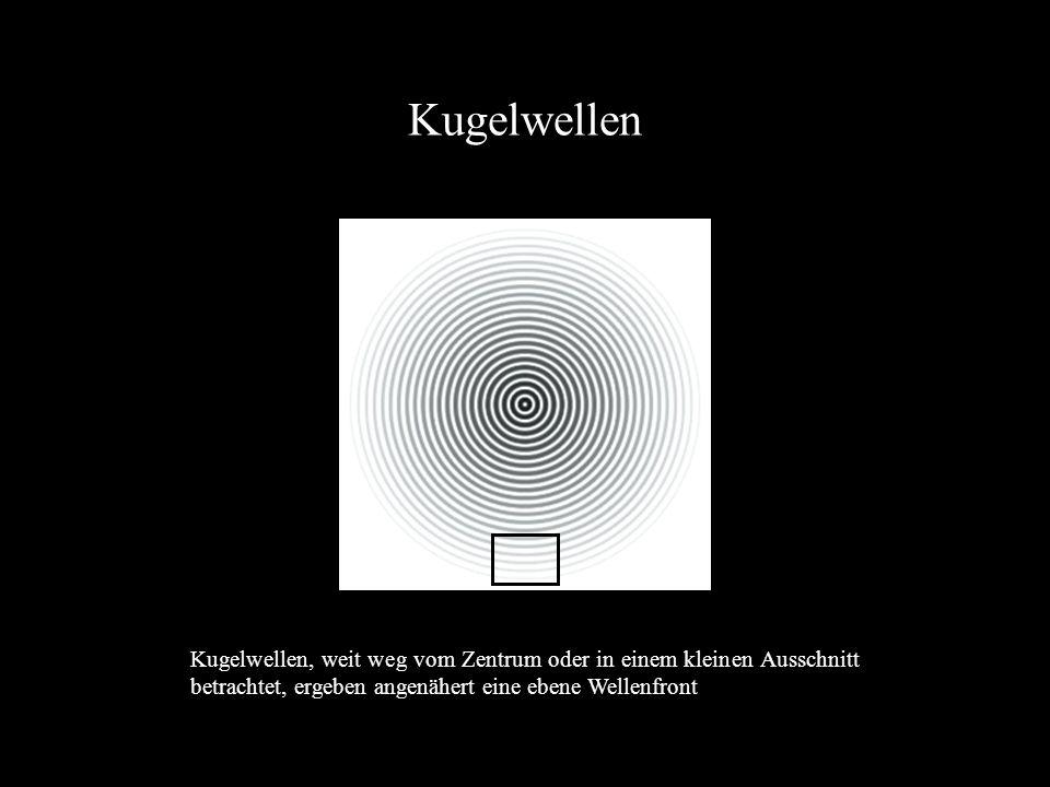 Kugelwellen Kugelwellen, weit weg vom Zentrum oder in einem kleinen Ausschnitt betrachtet, ergeben angenähert eine ebene Wellenfront.