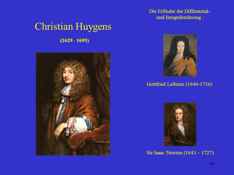 Christian Huygens (1629 - 1695) Die Erfinder der Differential-