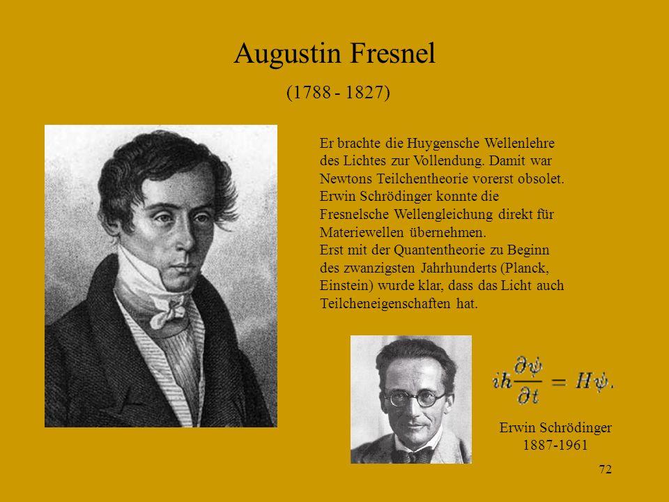 Augustin Fresnel (1788 - 1827) Er brachte die Huygensche Wellenlehre des Lichtes zur Vollendung. Damit war Newtons Teilchentheorie vorerst obsolet.