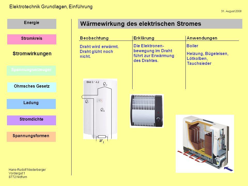 Wärmewirkung des elektrischen Stromes