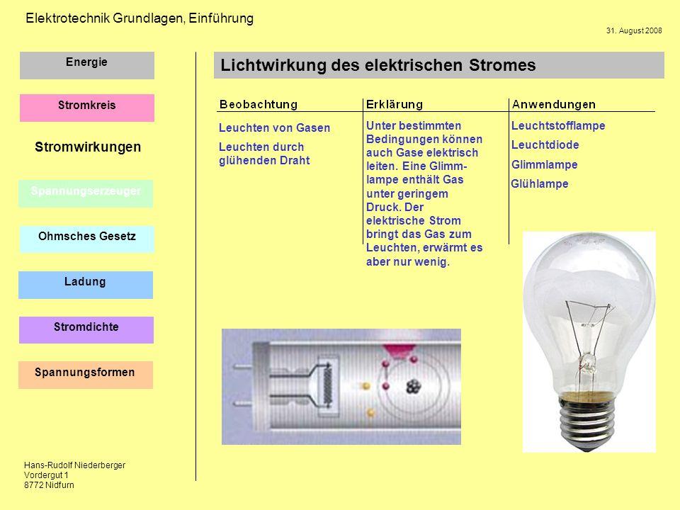 Lichtwirkung des elektrischen Stromes