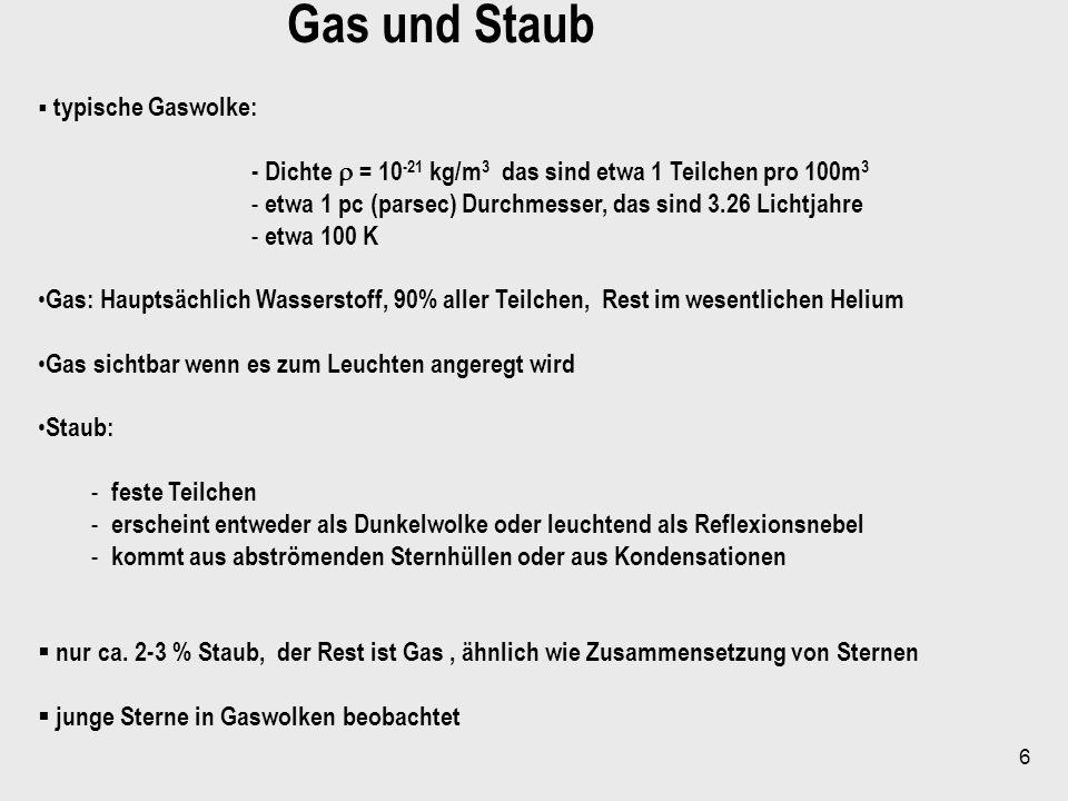 Gas und Staub typische Gaswolke: - Dichte  = 10-21 kg/m3 das sind etwa 1 Teilchen pro 100m3.