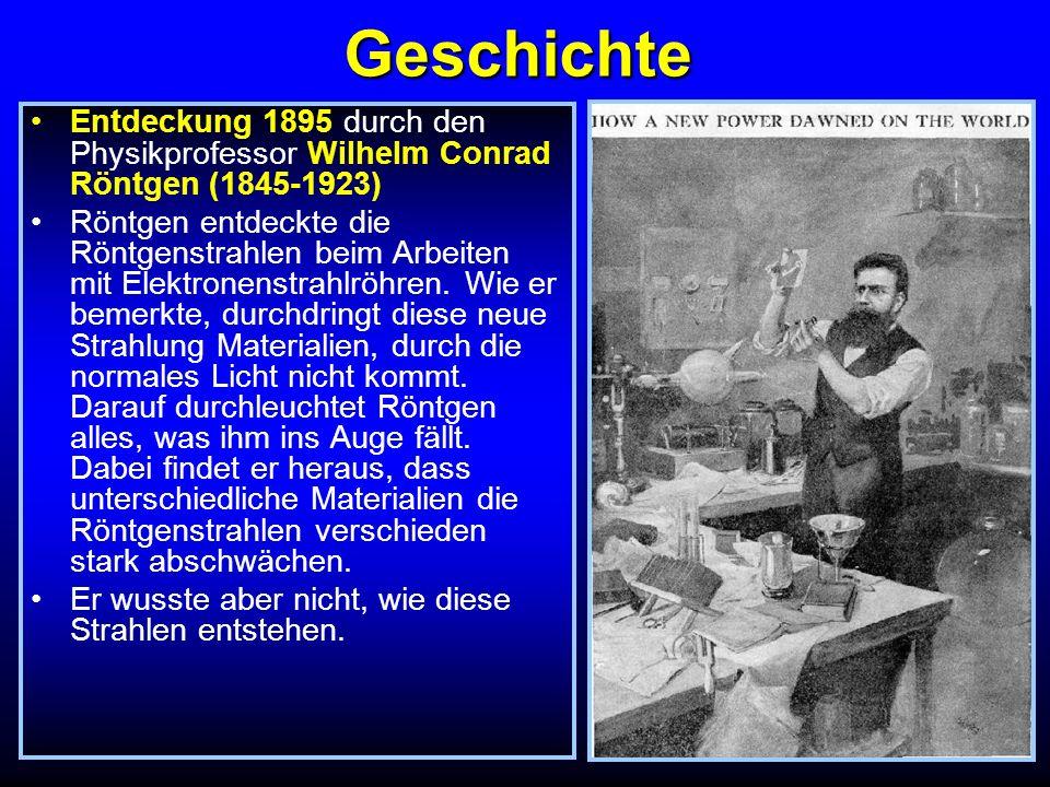 Geschichte Entdeckung 1895 durch den Physikprofessor Wilhelm Conrad Röntgen (1845-1923)