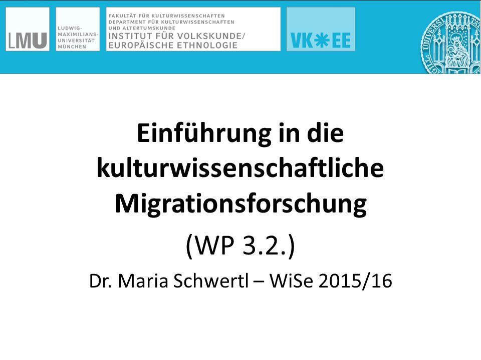 Einführung in die kulturwissenschaftliche Migrationsforschung