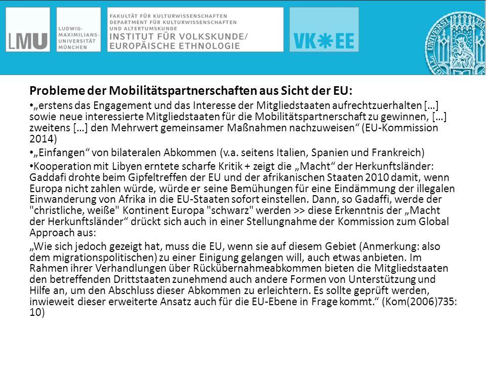 Probleme der Mobilitätspartnerschaften aus Sicht der EU: