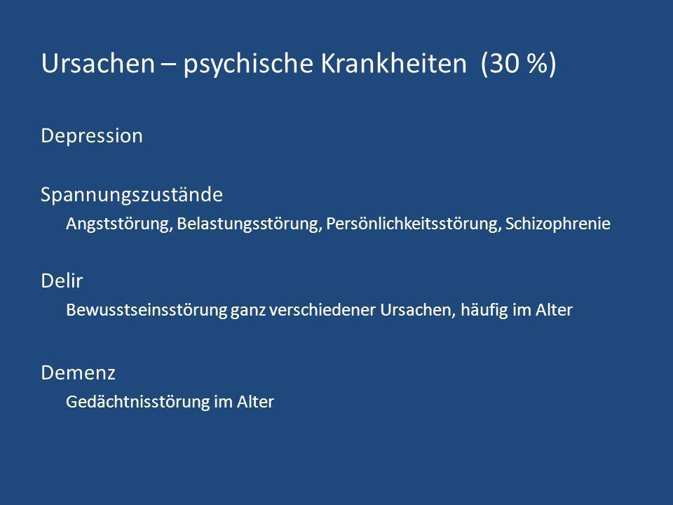 Ursachen – psychische Krankheiten (30 %)