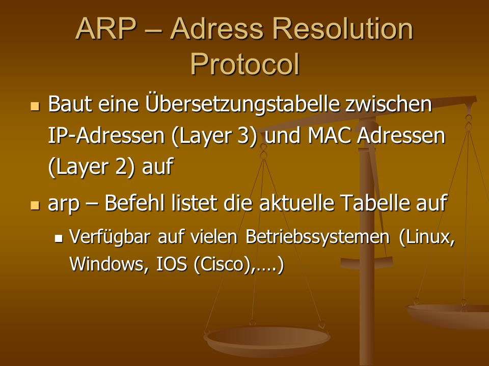 ARP – Adress Resolution Protocol