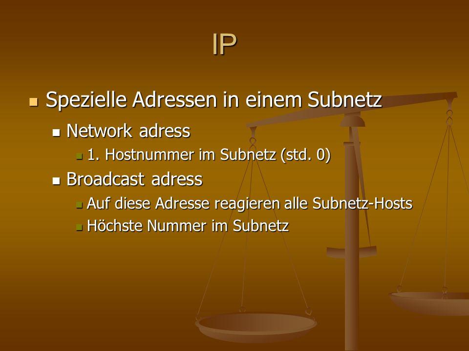 IP Spezielle Adressen in einem Subnetz Network adress Broadcast adress
