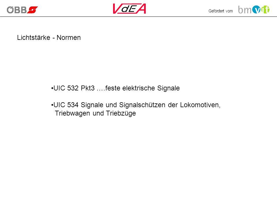 Lichtstärke - Normen UIC 532 Pkt3 ….feste elektrische Signale.