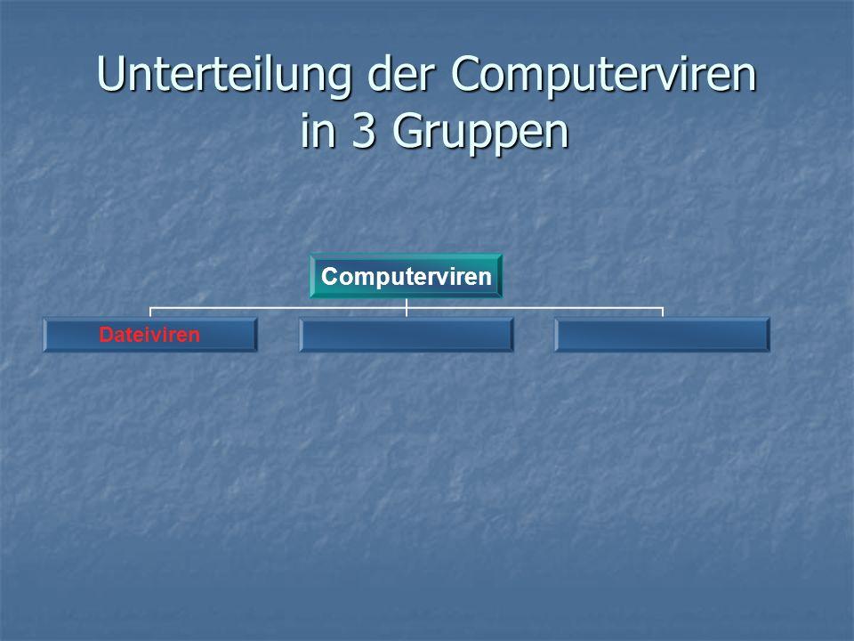 Unterteilung der Computerviren in 3 Gruppen