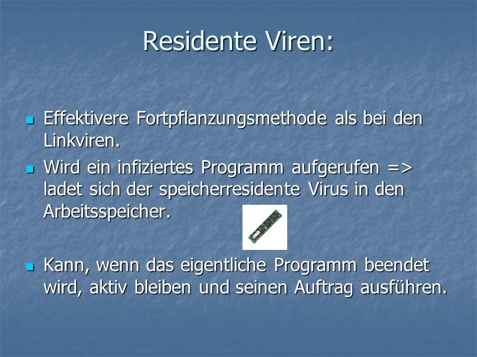 Residente Viren: Effektivere Fortpflanzungsmethode als bei den Linkviren.