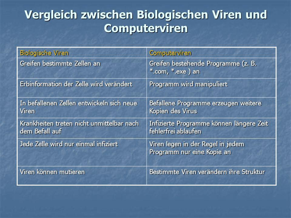 Vergleich zwischen Biologischen Viren und Computerviren