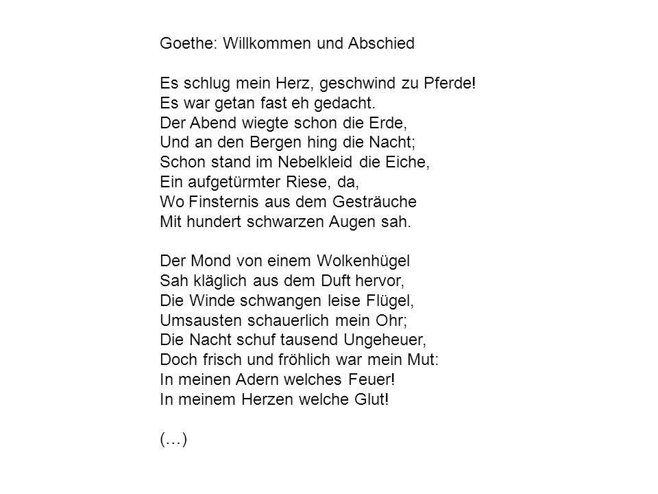Goethe: Willkommen und Abschied