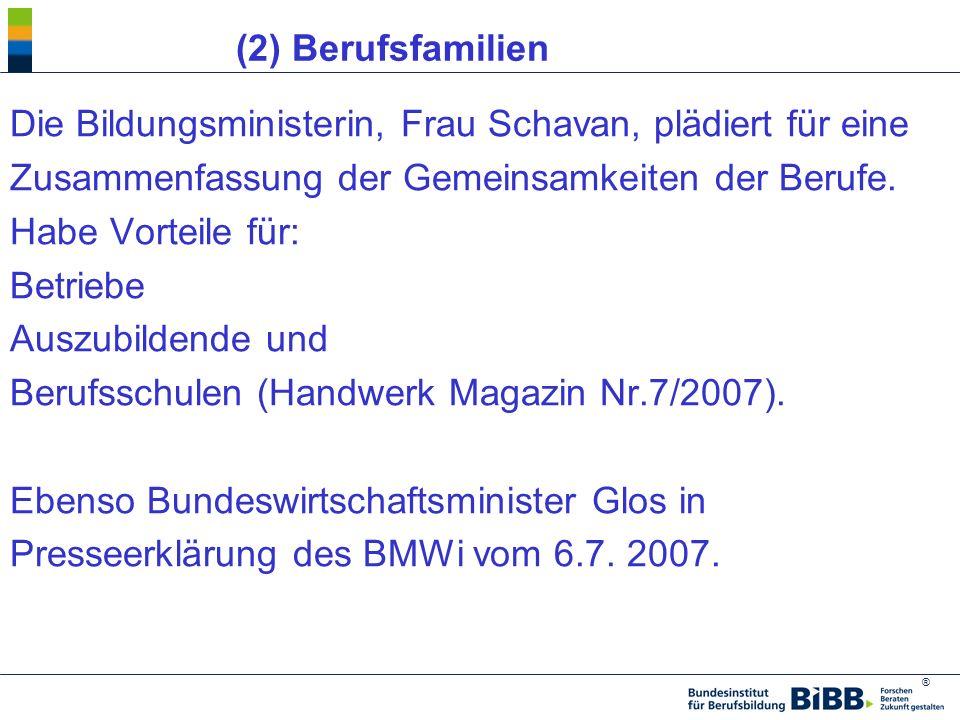 (2) Berufsfamilien Die Bildungsministerin, Frau Schavan, plädiert für eine. Zusammenfassung der Gemeinsamkeiten der Berufe.