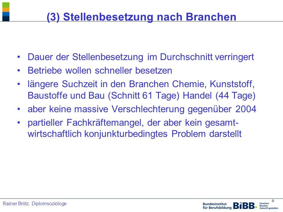 (3) Stellenbesetzung nach Branchen