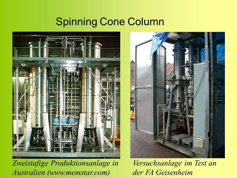 Spinning Cone ColumnZweistufige Produktionsanlage in Australien (www.memstar.com) Versuchsanlage im Test an der FA Geisenheim.