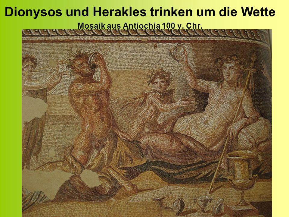 Dionysos und Herakles trinken um die Wette Mosaik aus Antiochia 100 v