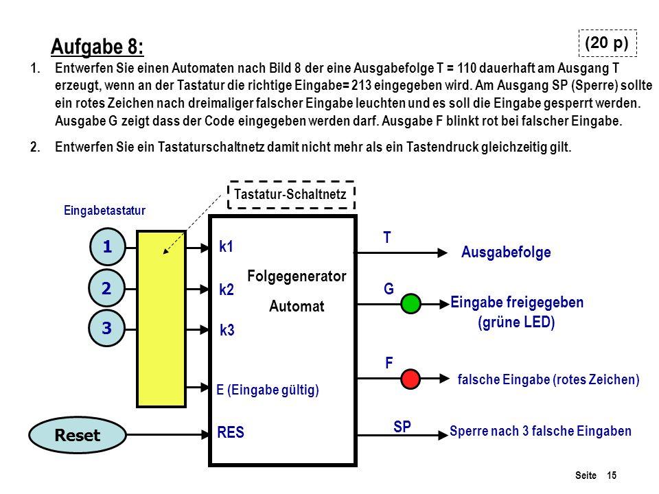Aufgabe 8: (20 p) T 1 k1 Ausgabefolge Folgegenerator Automat 2 k2 G