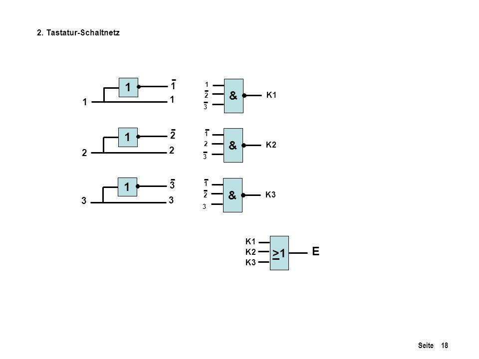 1 & 1 & 1 & >1 E 1 1 1 2 2 2 3 3 3 2. Tastatur-Schaltnetz K1 K2 K3