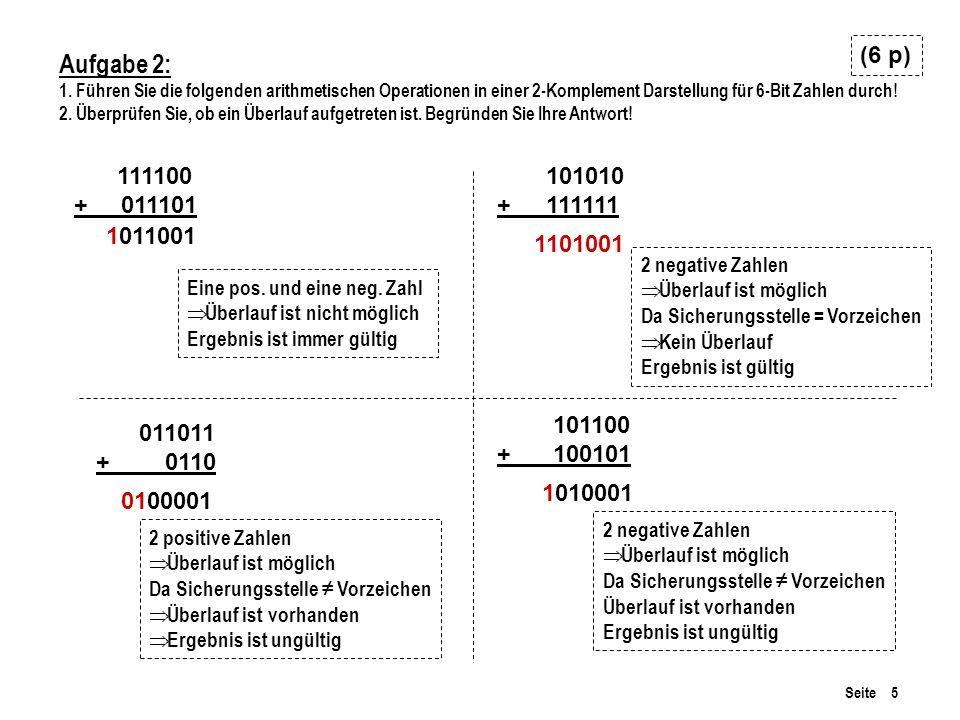 (6 p) Aufgabe 2: 1. Führen Sie die folgenden arithmetischen Operationen in einer 2-Komplement Darstellung für 6-Bit Zahlen durch!