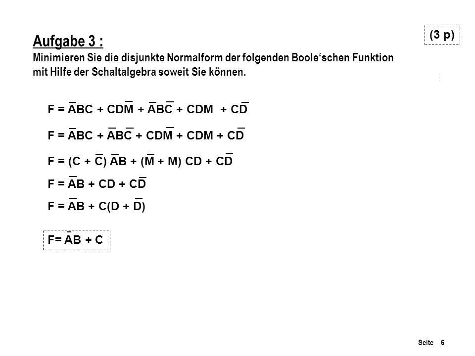 (3 p) Aufgabe 3 : Minimieren Sie die disjunkte Normalform der folgenden Boole'schen Funktion mit Hilfe der Schaltalgebra soweit Sie können.