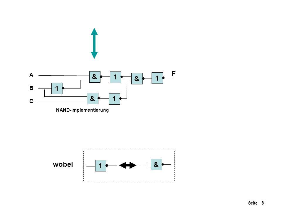 F A B C & 1 & 1 1 & 1 NAND-Implementierung wobei 1 &