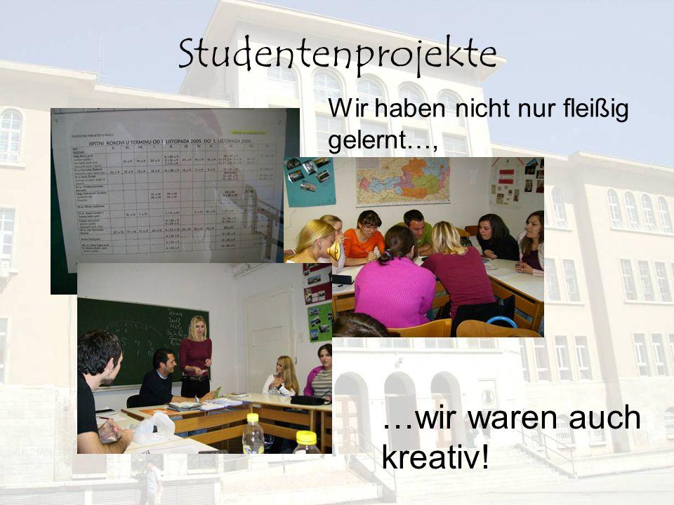 Studentenprojekte …wir waren auch kreativ! Wir haben nicht nur fleißig