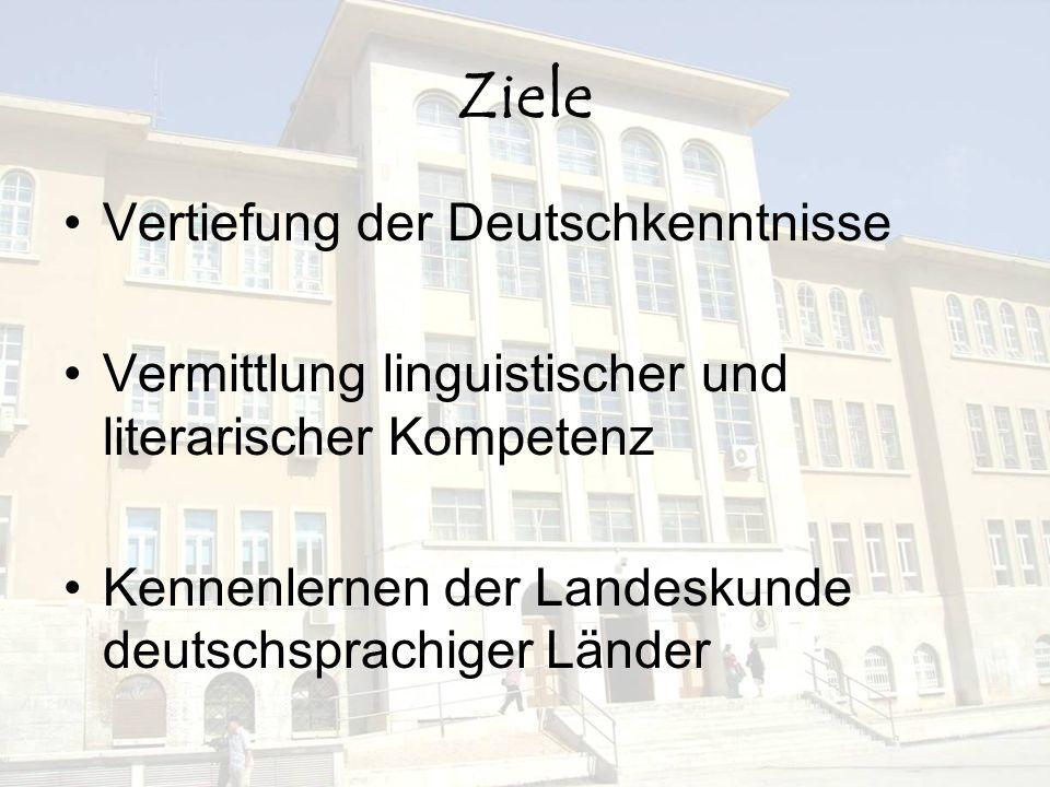 Ziele Vertiefung der Deutschkenntnisse