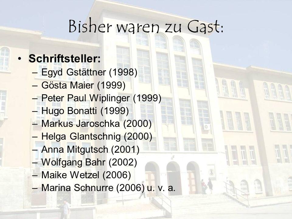 Bisher waren zu Gast: Schriftsteller: Egyd Gstättner (1998)