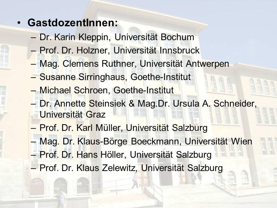 GastdozentInnen: Dr. Karin Kleppin, Universität Bochum