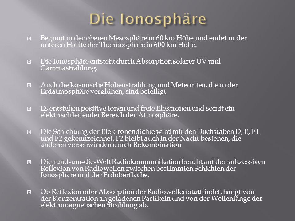Die Ionosphäre Beginnt in der oberen Mesosphäre in 60 km Höhe und endet in der unteren Hälfte der Thermosphäre in 600 km Höhe.