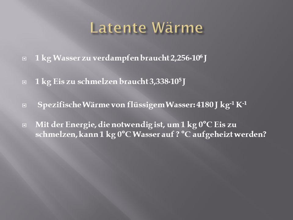 Latente Wärme 1 kg Wasser zu verdampfen braucht 2,256∙106 J