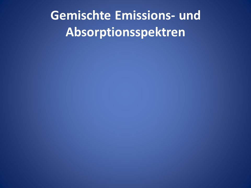 Gemischte Emissions- und Absorptionsspektren