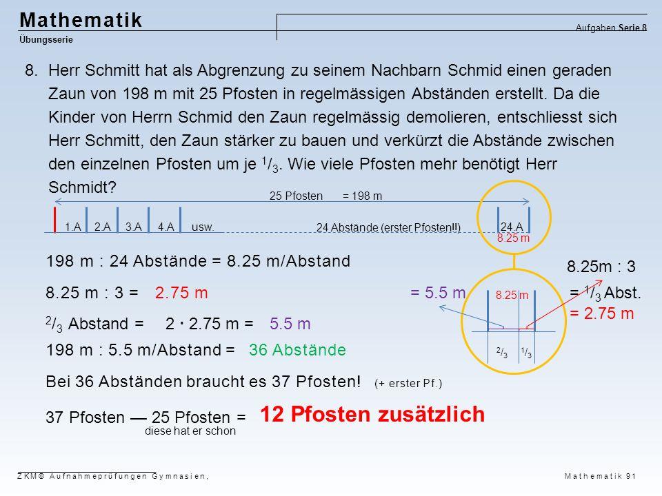 12 Pfosten zusätzlich Mathematik