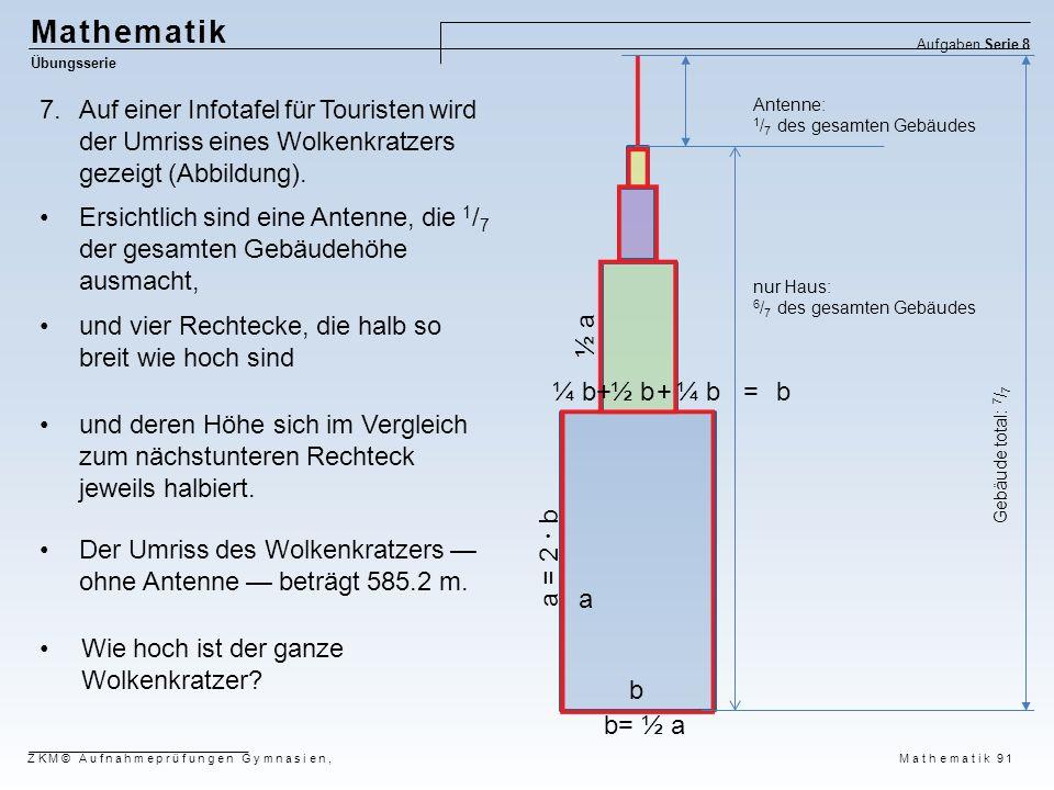 Mathematik Aufgaben Serie 8. Übungsserie. Auf einer Infotafel für Touristen wird der Umriss eines Wolkenkratzers gezeigt (Abbildung).